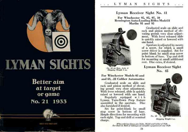 Lyman 1933 Gun Sights Catalog #21