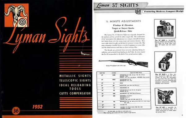 Lyman 1951-52 Sights Catalog No. 36