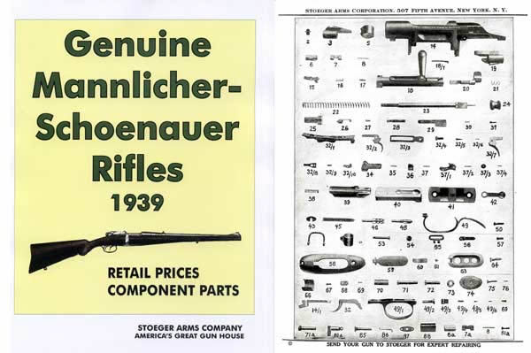 Steyr-Mannlicher Schoenauer Repeating Sporting Rifles 1939 Stoeger Gun & Parts Catalog