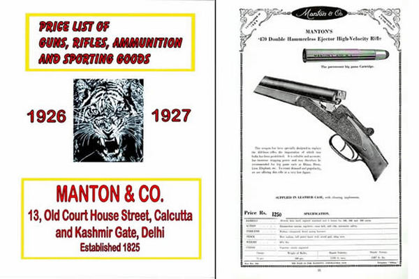 Manton 1927 Firearms and Ammunition Catalog (Calcutta, India)