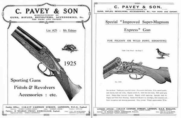 C. Pavey 1925 & Son Sporting Gun Catalog - London, Eng.