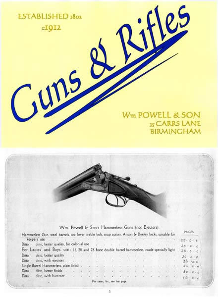 William Powell & Sons Gun & Rifle 1912 Catalog