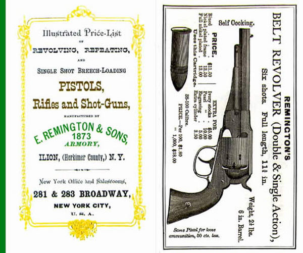 Remington 1873 Illustrated Price List & Gun Catalog