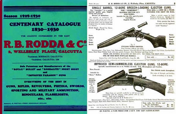RB Rodda & Co. Indian Gun Catalogue 1929-30 (Calcutta)
