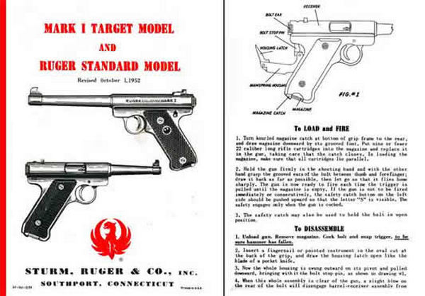 Ruger Mark I Target & Standard Manual 1952