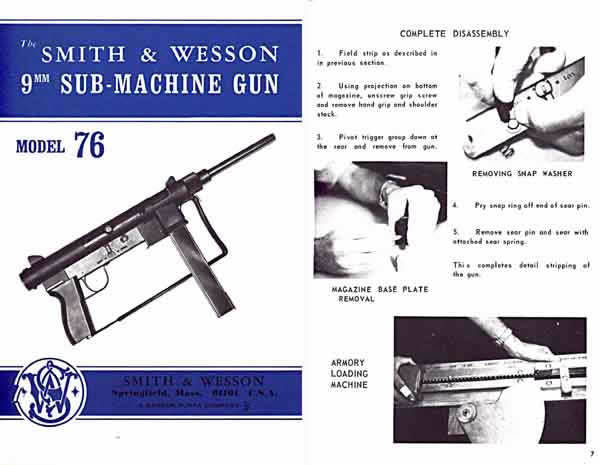 Smith & Wesson 1969 M-76 Sub-Machine Gun Catalog