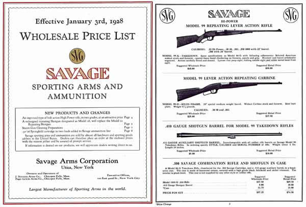 Savage 1928 Sporting Arms- January Wholesale Price Catalog
