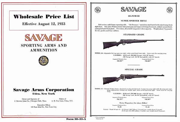 Savage 1933 Sporting Arms Price Catalog