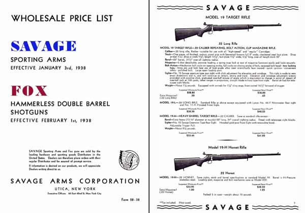 Savage 1938 Sporting Arms & Fox Double Barrels Shotguns Catalog