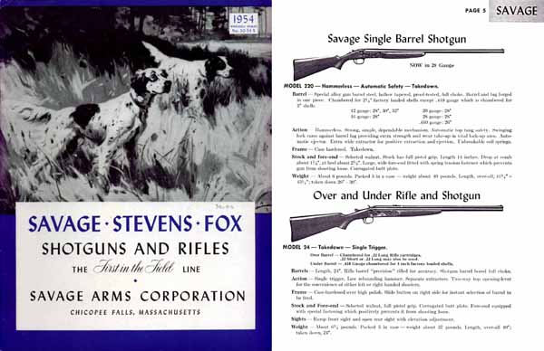 Savage 1954, Stevens, Fox Gun Catalog