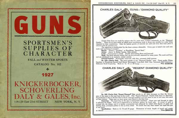 Knickerbocker, Schoverling, Daly & Gales 1927 Gun Catalog (NY)
