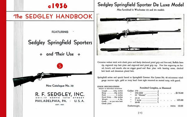 RF Sedgley 1936 Custom Guns Handbook and Gun Catalog #39 (Phil., PA)