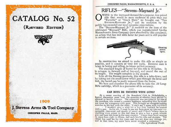 Stevens 1909 Firearms General Catalog & Component Parts No. 52 (revised)
