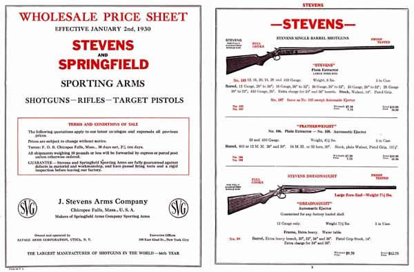 Stevens 1930 and Springfield - Sporting Arms Catalog