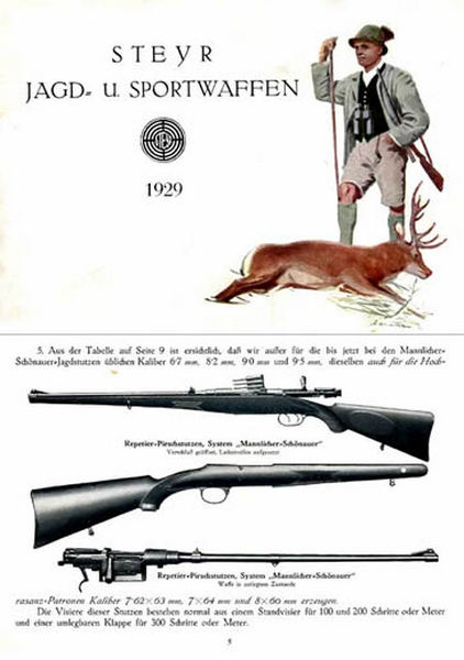 Steyr-Mannlicher Schoenauer Repeating Sporting Rifles 1929 (in German-Catalog)