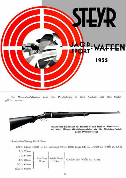 Steyr-Mannlicher Schoenauer Repeating Sporting Rifles 1935 (in German-Catalog)