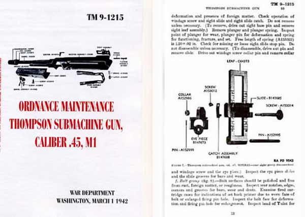Thompson 1942 Ordnance Maintenance M1, M1A1, TM9-215 Manual