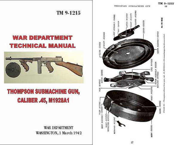 Thompson 1942 Technical Manual TM9-1215- M1928A21 Submachine Gun