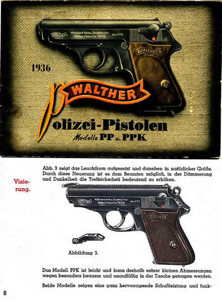Walther Polizei Pistolen Modelle PP & PPK 1936 Manual (German)