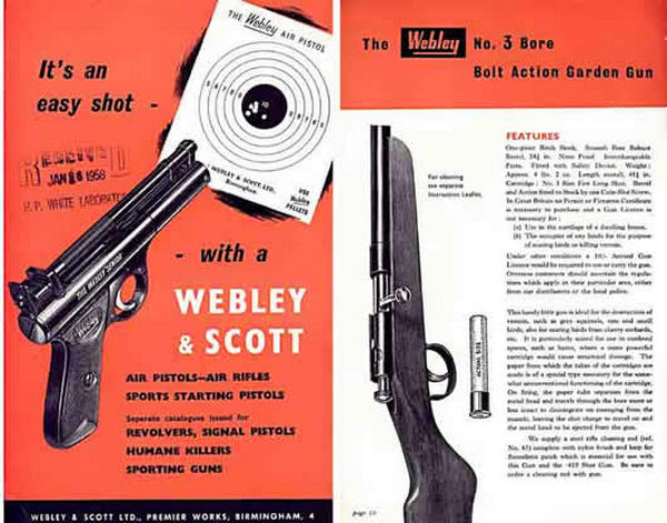 Webley & Scott 1958 Air Guns and Garden Gun Catalog