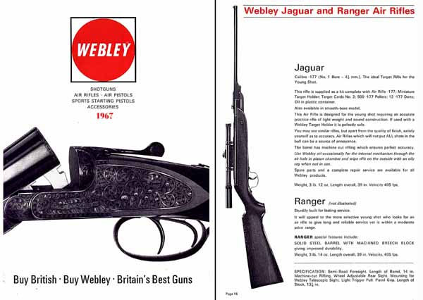 Webley & Greener 1967 Full Line Catalog (England)