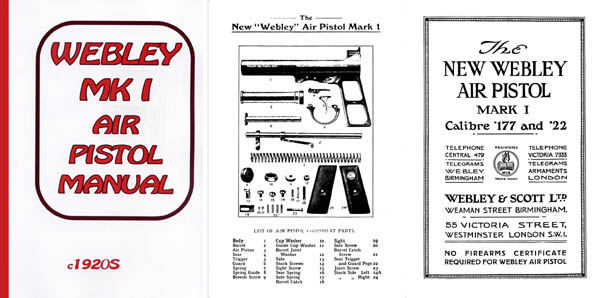 Webley & Scott c1920s Mark I Air Pistol Manual