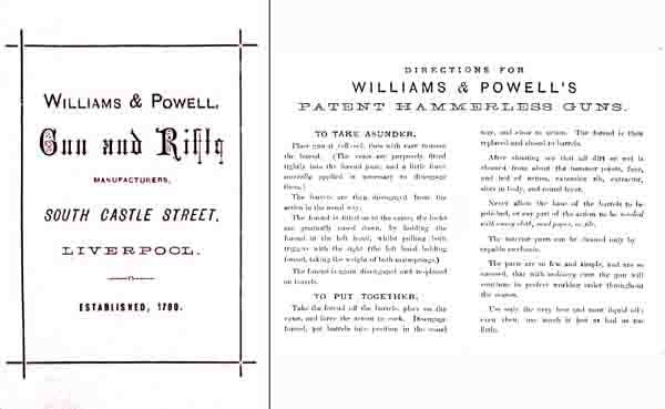 Williams & Powell Shotgun and Rifle Manual c1890 (UK)