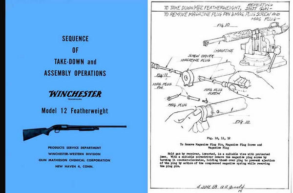 Winchester Model 12 Featherweight Complete Takedown Manual