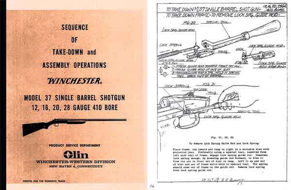 Winchester Model 37 Complete Takedown Manual - Picture 1