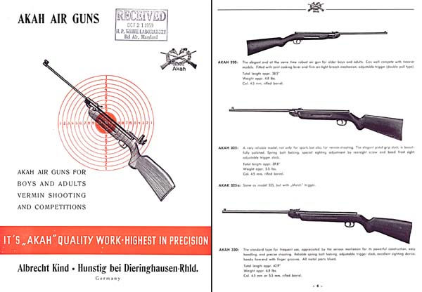Akah 1958 Air Guns Catalog