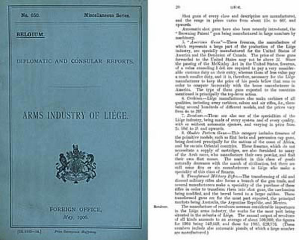 Arms Industry of Liege - 1906 Diplomatic Report, London