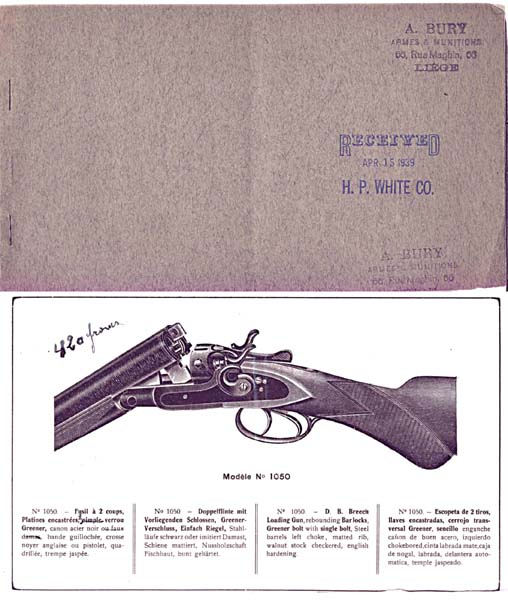 Antoine Bury Armes (Liege) c1939 Gun Catalog