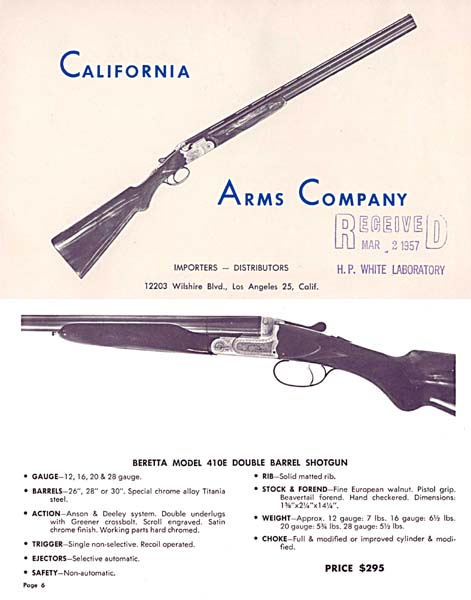 California Arms 1957 Gun Catalog (LA, Calif.)