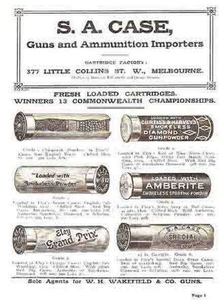 Case, SA (AU-Melb) c1917 Guns and Ammo