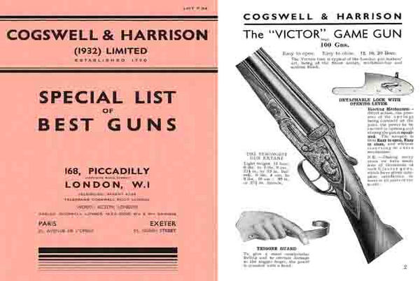 Cogswell & Harrison (UK) c1934 Gun Catalog
