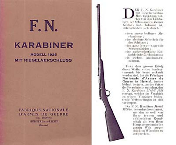 FN Karabiner Modell 1926 SS .22 Bolt Action Manual