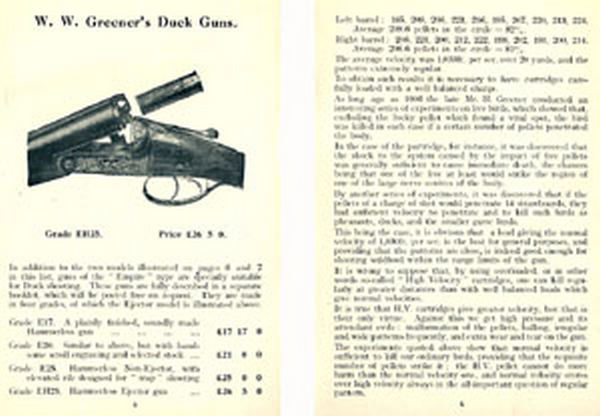 WW Greener c1930 Wildfowl Gun Catalog