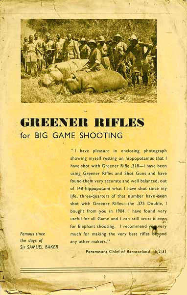 WW Greener c1932 Big Game Rifles Catalog