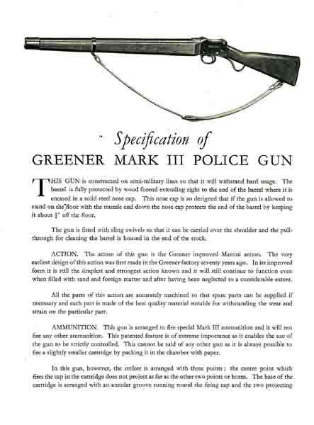 WW Greener c1936 Police Gun Catalog