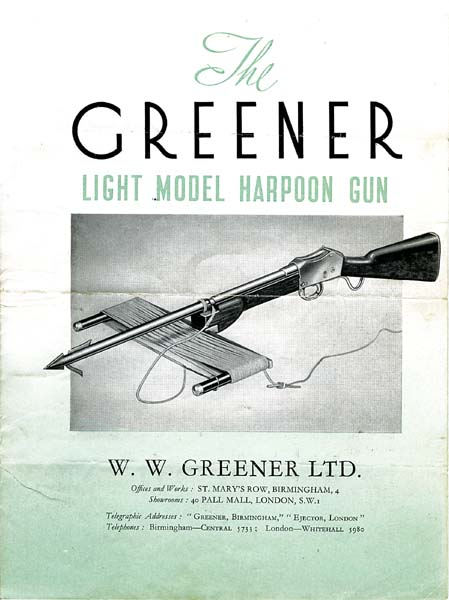 WW Greener c1950 Harpoon Gun Catalog