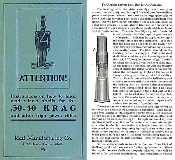 Krag Reloading Manual by Ideal - 1904
