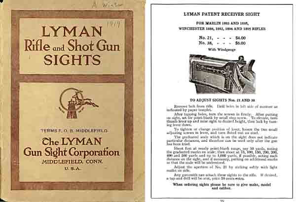 Lyman 1919 Gun Sights Catalog