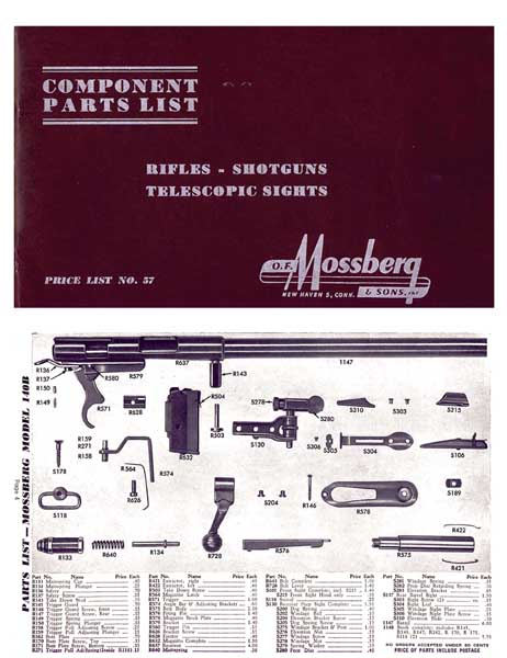 Mossberg 1958 Component Parts Catalog