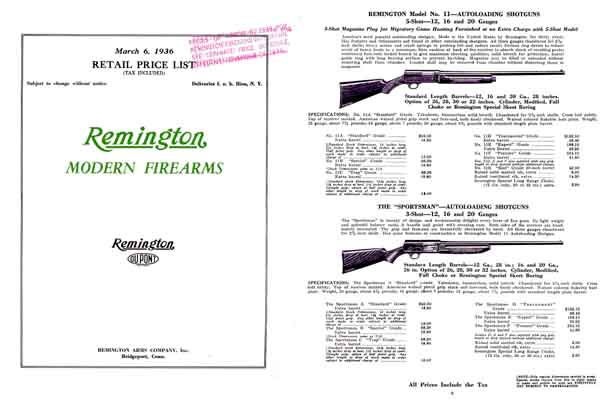 Remington 1936 Gun Catalog