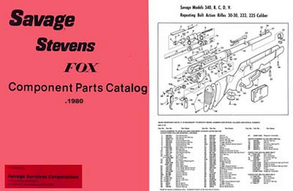 Savage c1980 Component Parts Manual Catalog