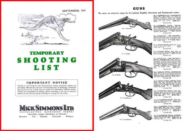 Mick Simmons 1931 (AU-Sydney) Gun Catalog