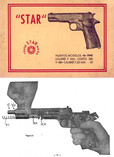 Star Pistols Models S and Si Manual - 1941