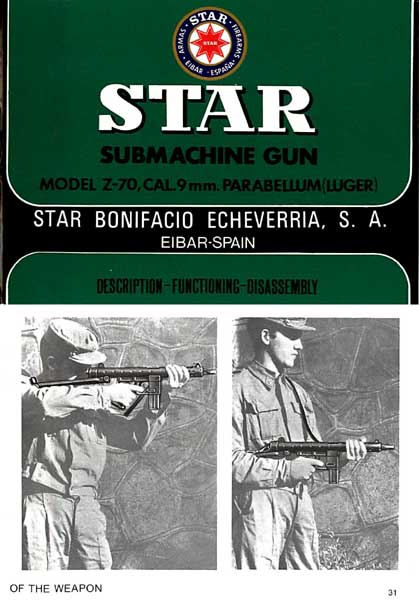 Star Submachine Gun Model Z-70 9mm Manual