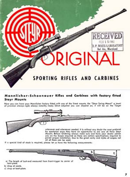Steyr-Mannlicher Schoenauer Repeating Sporting Rifles & Carbines 1959 (in English-Catalog)