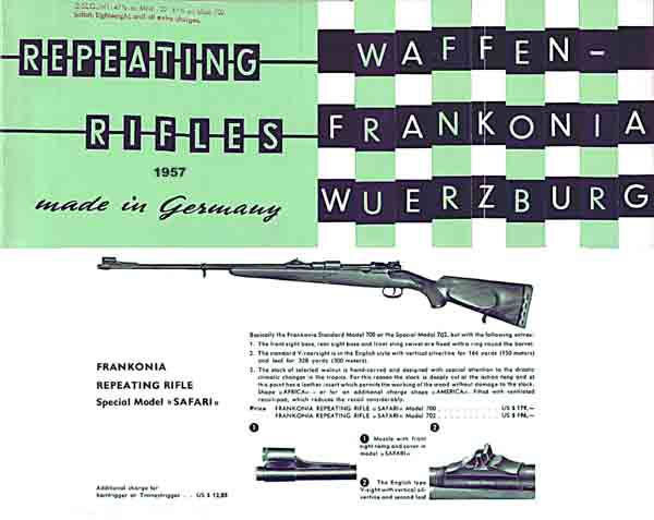 Waffen-Frankonia Repeating Rifles 1957 Catalog (Germany)